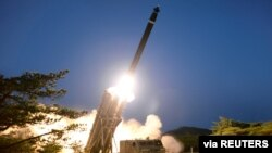 A view shows the testing of what local media call a super-large multiple rocket launcher in North Korea, in this undated photo released on March 28, 2020 by North Korea's Korean Central News Agency (KCNA). KCNA via REUTERS ATTENTION EDITORS -…
