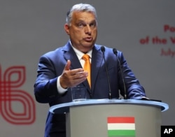 Viktor Orban Prime Minister of Hungary attends a news conference following talks with his counterparts from central Europe's Visegrad Group in Lublin, Poland, Sept. 11, 2020.