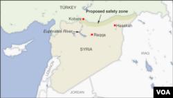 """Türkiyənin təklif etdiyi """"təhlükəsizlik zona""""-sının (proposed safety zone) hüdudları"""