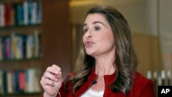 FILE - Melinda Gates speaks while being interviewed in Kirkland, Wash., Feb. 1, 2019, about billionaire philanthropy being a force for good.