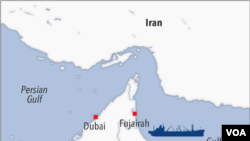 Map of potential ship hijack in Gulf of Oman