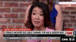 비비안 리 앵커가 CNN 방송에 출연해, 성ㆍ연령차별 소송에 관해 설명하고 있다. (CNN 제공)