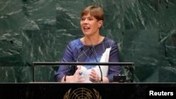FILE - Estonia's President Kersti Kaljulaid addresses the 74th session of the United Nations General Assembly at U.N. headquarters in New York City, New York, Sept. 25, 2019.