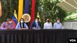 El líder opositor venezolano, Juan Guaidó, en conferencia de prensa en Caracas, el 7 de julio de 2021. [Foto: VOA/Álvaro Algarra]