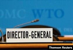 Kursi Pimpinan Dewan Umum Organisasi Perdagangan Dunia (WTO) di Jenewa, Swiss. (Foto: dok).