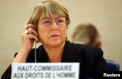 ឧត្តមស្នងការសិទ្ធិមនុស្សអង្គការសហប្រជាជាតិលោកស្រី Michelle Bachelet ចូលរួមក្នុងកិច្ចប្រជុំមួយស្តីពីក្រុមប្រឹក្សាសិទ្ធិមនុស្សនៅអង្គការសហប្រជាជាតិ នៅក្រុងហ្សឺណែវ ប្រទេសស្វីស កាលពីថ្ងៃទី០៩ ខែកញ្ញា ឆ្នាំ២០១៩។