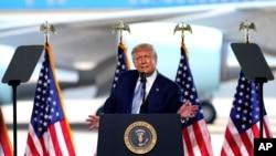 Rais Trump akizungumza na wafuasi wake katika mji wa Yuma jimbo la Arizona. Aug. 18, 2020