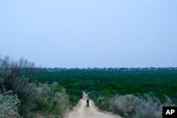 FILE - A Border Patrol agent walks along a dirt road near the U.S.-Mexico border, in Roma, Texas, May 11, 2021.