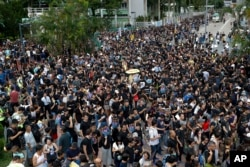 Người biểu tình tụ tập tại Công viên Po Tsui, phản đối dự luật dẫn độ trong cuộc tuần hành ở Hong Kong, ngày 4/8/2019.