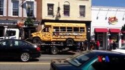 Gülləbaran edilmiş məktəb avtobusu